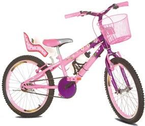 Bicicleta Infantil Aro 20 Flowers Com Cadeirinha de Boneca