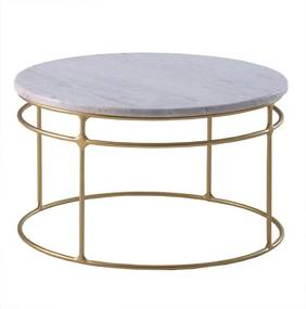 Mesa de Centro Five 60cm Aço Bronze/Mármore Branco Rajado - Gran Belo