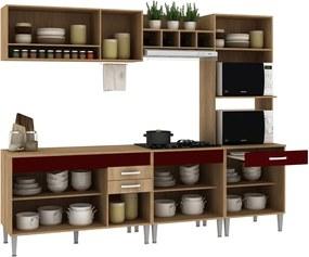 Cozinha Classic 5 Peças C/ Tampo Carvalho/Blanche/Bordô Fellicci Móveis