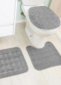 Jogo de Banheiro Cinza Antiderrapante 3 Peças