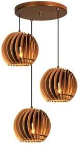 Pendente trio triplo de madeira | Canopla Redonda | 21x19cm | Soq: E-27 | Caramelo | Mod: Tulipa