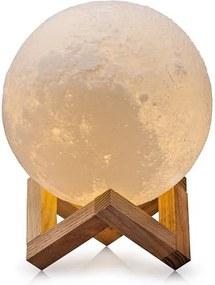 Luminária Lua Cheia 3D 15cm - Base Madeira - 3 Cores de Iluminação