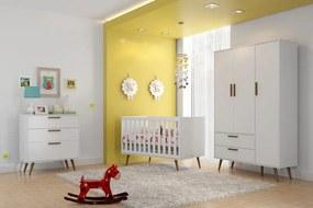 Quarto de Bebê Retrô Branco Completo - Matic Móveis