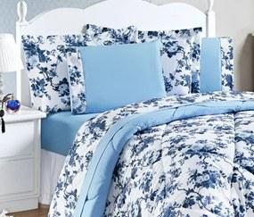 Roupa de Cama King Murano 150 Fios 04 Peças - Floral Azul