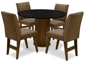 Conjunto Mesa de Jantar Isis com 04 Cadeiras Lorena Castanho/Preto/Mascavo - ADJ DECOR