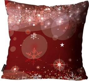 Capa para Almofada Premium Cetim Mdecore Natal Flocos de Neve Vermelha45x45cm