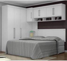Quarto Casal Modulado Modena Branco 05 Peças Demobile