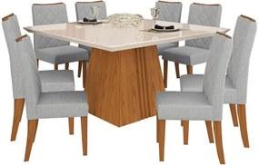 Conjunto Grags Mesa C/ Tampo Chanfrado e Vidro + 8 Cadeiras Estofadas