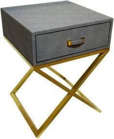Mesa de Cabeceira em Metal Dourado Revestido em Couro Cinza - 65x50x50cm