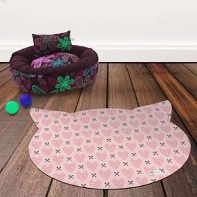 Tapete PET Mdecore Cabeça de Gato Coração Rosa54x39cm