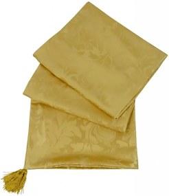 Peseira Arezo em Jacquard Brocado Adornos Dourado 195x65cm