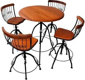Mesa para Bar Regulável Clean + 4 Cadeiras em Ferro e Madeira de Jequitibá