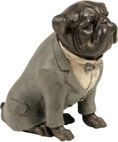Estatueta Cachorro Terno Cinza