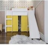Cama Infantil Branco Elevada com Escorregador Completa Móveis
