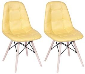 Conjunto 2 Cadeiras Eames Eiffel Botonê Amarelo