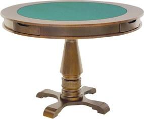 Mesa de Jogos Carteado Victoria 4 Lugares Redonda Tampo Reversível com Gavetas e Porta Copos Amêndoa - Gran Belo