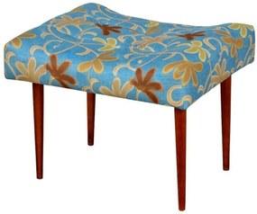 Puff Classic Nay Estofados Pés Palito Alto Capitonê Tecido Floral Azul