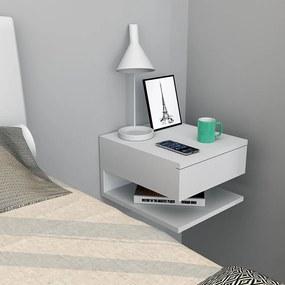 Mesa de Cabeceira com gaveta e prateleira Branco - Appunto Móveis