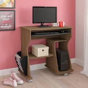 Mesa Para Computador 160 com 2 Nichos Artely Amêndoa com Preto