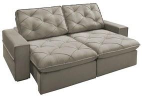 Sofá Decorativo Reclinável e Retrátil 2 Lugares Vinci 230cm Veludo Nude - Gran Belo