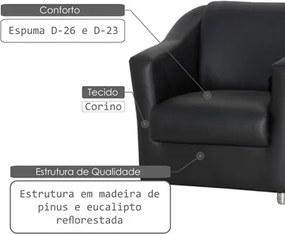 Poltrona Decorativa para Sala e Escritório Tilla Corano Preto - Jm Estofados