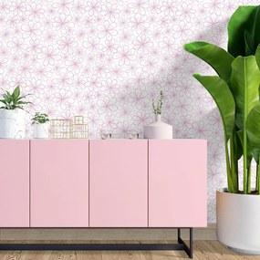 Adesivo de parede Floral traço rosa