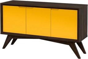 Buffet Serafim 3 Portas Envelhecido e Amarelo - Wood Prime MP 27636