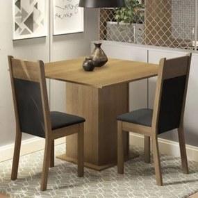 Conjunto Sala de Jantar Madesa Drica Mesa Tampo de Madeira com 2 Cadeiras Rustic/Preto/Sintético Preto