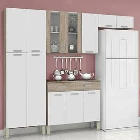 Cozinha Compacta 9 Portas Alfa Top Nogal/White/Nogal - Kit's Paraná