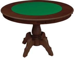Mesa de Jogos Carteado Redonda Montreal 6 Lugares Tampo Reversível com Gavetas e Porta Copos Imbuia - Gran Belo