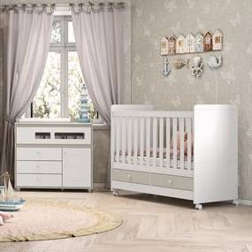 Quarto de Bebê Aquarela Berço e Cômoda - Branco/Cristal