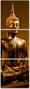 Quadro Oppen House  150x50cm Buda Dourado Decorativo Interiores Budismo