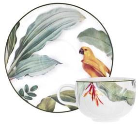 Jogo 6 Xícaras de Chá C/ Pires Porcelana Natureza