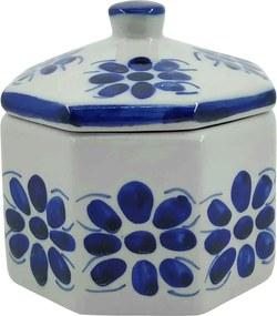Porta Jóias Oitavado em Porcelana Azul Colonial