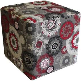 Puff Quadrado Decorativo Tecido Floral 415 LymDecor Vermelho