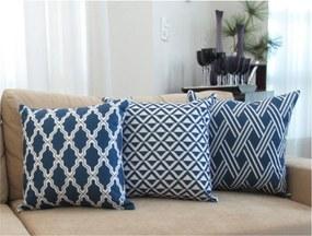 3 Capas para Almofadas Soft Veludo Geométrico Azul 43x43cm