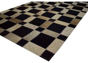 Tapete Quadras 1,05x1,50 Preto e Cinza Mix - RE 45230
