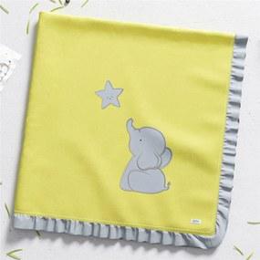 Manta Bebê Unissex Elefantinho Amarelo AlgodÁo GrÁo de Gente Rosa