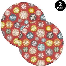 Capa para Sousplat Mdecore Natal Flocos de Neve Vermelho2pçs
