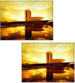 Jogo americano Colours Creative Photo Decor - Brasília amarela - 2 peças