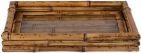 Bandeja Bambu Fundo Vidro - P