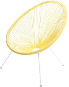 Poltrona Acapulco Cordas em PVC Amarela Base de Aco Pintado Branco - 39558 Sun House