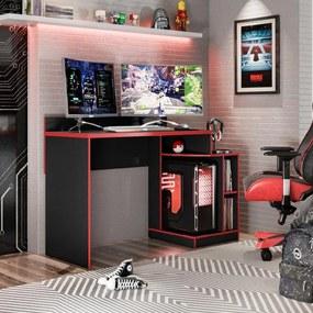 Mesa Para Computador Gamer Escrivaninha 2 Nichos Play