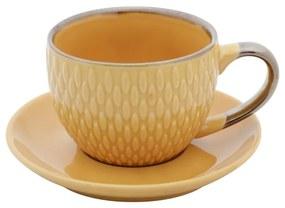 Jogo De 4 Xícaras Para Café Porcelana Drops Com Pires Amarelo 90ml 27611 Bon Gourmet