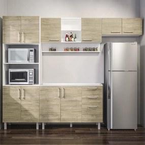 Conjunto Cozinha Completa Kanda (L:2,70m) C/ 10 Portas Branco /