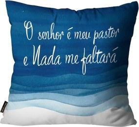 Almofada Premium Cetim Mdecore Frase Azul  45x45cm