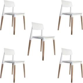 kit 5 Cadeiras Decorativas Sala e Cozinha (PP) Viper Branca - Gran Belo