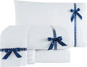 Roupa de Cama Casal Padrão Essence 200 Fios 04 Peças - Diversas Cores Azul Marinho