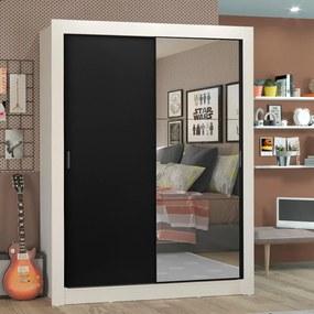 Guarda-Roupa Solteiro Madesa Denver 2 Portas de Correr com Espelho Branco/Preto Cor:Branco/Preto