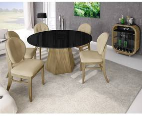 Conjunto de Jantar Bianca com 6 Cadeiras Florence -
